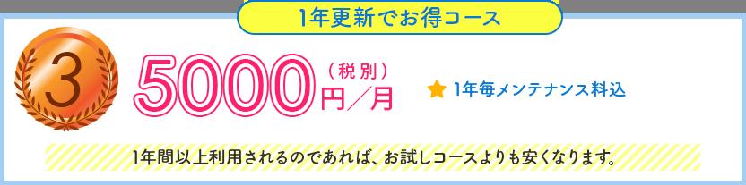 1年更新でお得コース, 5000円/月(税別), 1年毎メンテナンス料込, 1年間以上利用されるのであれば、お試しコースよりも安くなります。